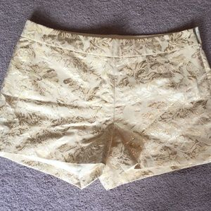 J. Crew Metallic Gold Floral Shorts